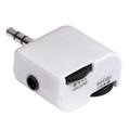Adaptör 3.5mm Fiş-2x3.5mm Soket Ses Kontrol Beyaz