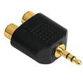 Adaptör 3.5mm Stereo Fiş - 2RCA Soket Altın Uç