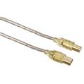 USB 2.0 A Fiş - B Fiş Altın Uç Transparan 3m