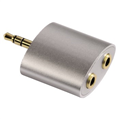 Adaptör 3.5mm Fiş - 2x3.5mm Soket, Stereo AluLine