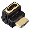 Adaptör HDMI Fiş - Soket 90° Açılı Altın Uç Siyah